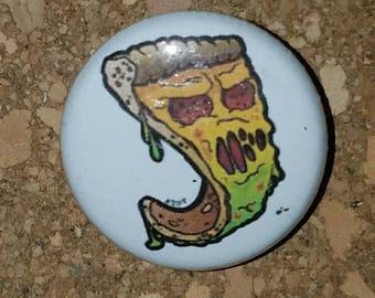 "Zombie Pizza 1"" Pin, Pinback  Button, White"