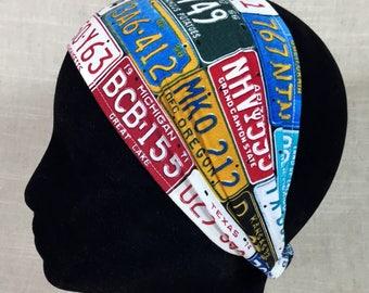 Wide Fabric Headband- License Plates | Unisex Headband | Mens Headband | Wide Headband | Adult Headband | Cotton Headband | Bandana Wrap
