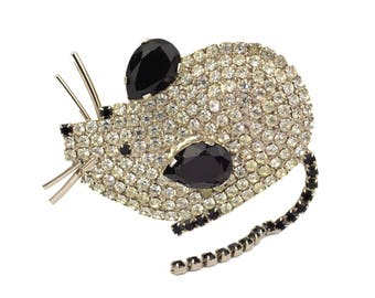 Vintage Butler and Wilson Rhinestone Mouse Brooch // Large 1970's Figural Signed B&W Mice Pin