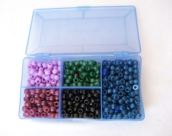 New 10 oz PONY BEAD LOT in Case Lavender Black Glitter Purple Green Blue Jewelry Craft