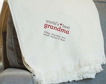 Embroidered World's Best Grandma Blanket: Personalized Grandma Blanket from grandkids, Personalized Gift from Grandkids, SHIPS FAST