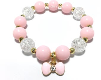 Toddler or Girls Small Beaded Pink Bow Charm Bracelet - Girls Pink and Gold Bracelet - Princess Party Favors - Girls Pink and Gold Birthday