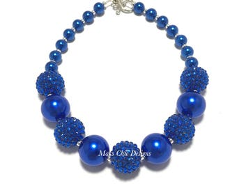 Toddler or Girls Royal Blue Chunky Necklace - Blue on Blue Necklace - Girls Royal Blue Sparkle Necklace - Blue Snowflake Necklace - Holiday