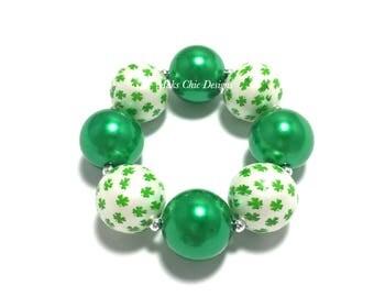 Toddler or Girls St Patricks Day Chunky Bracelet - Green and White Chunky Bracelet - Green Shamrock Bracelet - Spring Green Chunky Bracelet