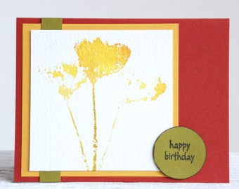 California Poppy Watercolor Greeting Card, Handmade Notecard With A Variety Of Sentiments, Birthday Card, Thank You Card, Thinking of You