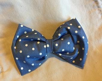 Blue Polka Dot Mini Bow