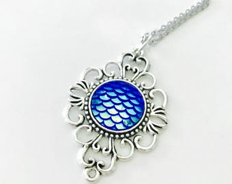 Silver Mermaid Scale Pendant Necklace, blue mermaid scale, gift for her