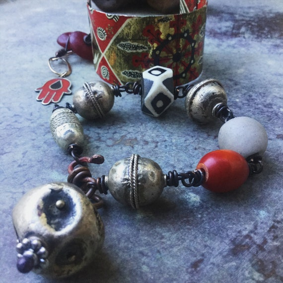 Tribal cuff and bracelet set | African silver and glass beads, hamsa hand, vintage tin cuff