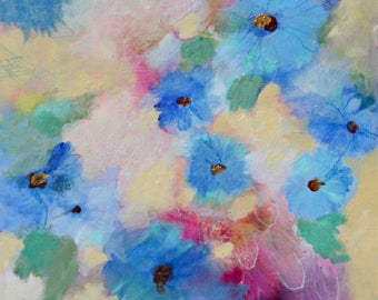 """Small Abstract Wildflower Painting, Blue Flowers, Original Artwork, """"Gentle Beauty"""" 12x12"""""""