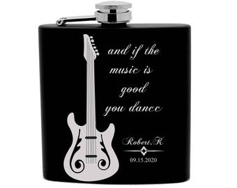 Personalized Flask Print 6oz Black Stainless Steel music quotes your name date 0014