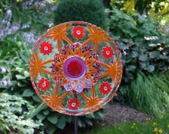 Repurposed Garden art, handmade Garden Sculpture, Repurposed Décor and Glass Yard Art sun catcher with recycled glassware