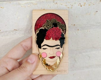Wood and glitter Frida Kahlo laser cut necklace. Red glitter