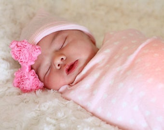 First Bow Newborn Hospital Hat Rose Bow Pink Hat (newborn girl hat, newborn beanie, newborn hospital hat with bow, first bow)