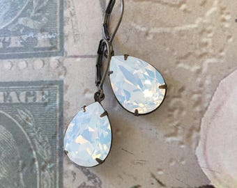 White Opal Crystal Earrings - Created with crystals from Swarovski®  White crystal wedding earrings - bridesmaids jewellery