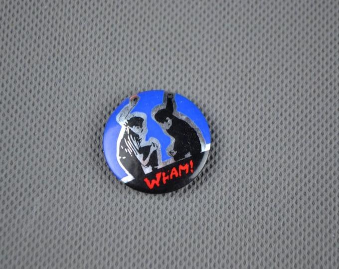 Vintage Original WHAM! 1980s Metallic Badge Pin George Michael