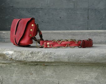 Crossbody leather purse - fanny pack - leather pouch Raspberry