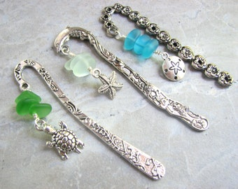 Mini Beach Bookmarks, Set of Three Small Sea Glass Book Marks, Turtle, Sand Dollar and Starfish Charms on Metal Markers, Stocking Stuffer