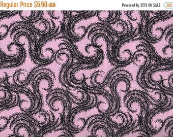 ON SALE Pink Fabric, Floral Fabric, Black and Pink  Fabric, Light Pink Fabric, Pink Floral Fabric, 1 yard Fabric, 01385