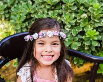 Silver Pink White First Birthday Crown - WDW Floral Halo Boho Headband Newborn Photo Prop Shabby Chic