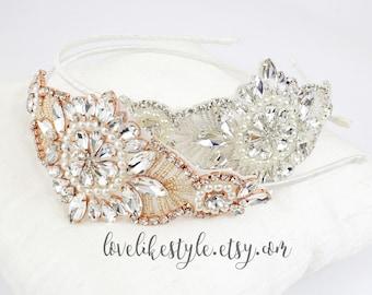 Rhinestone Jewel Head Piece, Bridal Rhinestone Headband, Bridesmaid Headband,Rose Gold Headband