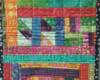 Handmade batik quilted table runner, one of a kind quilted modern art, washable, reversible, housewarming gift, upcycled recycled fabric fun