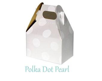 Boxes ,  Polka Dot Pearl Take Out Boxes & Containers , Dot Gable Boxes , Barn Boxes , Mini Gable Boxes , Favors, gifts,