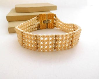 Vintage Monet Off-White Faux Pearl Bead Layered Multi-Strand Gold Bracelet P9