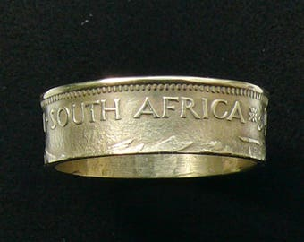 Brass Coin Ring 1961 South Africa 1/2 Cent, Ring Size 9 1/2 and Double Sided