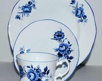weekend sale Royal Crest china trio  white and blue china  3 piece china set vintage china