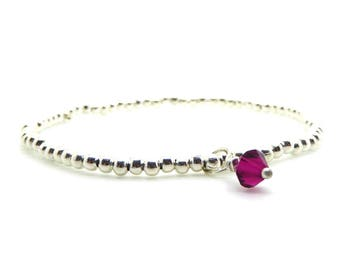 Silver Beaded Bracelet Birthstone Swarovski Charm/Medium Size Stacking Stretch Bangle/Bridesmaids/Sister/Friend Gift//LR050B