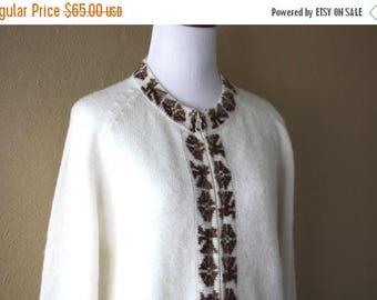 Clearance Sale Vintage Handknit Alpaca Knit Cardigan Sweater