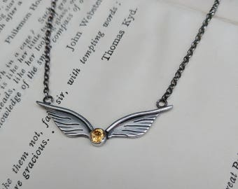 Sterling Silver and Citrine Golden Snitch Wings Necklace - Harry Potter inspired, Geek, Fantasy, Quidditch