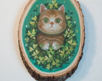 Cat is Lucky- Original Painting by Phoenix Chan
