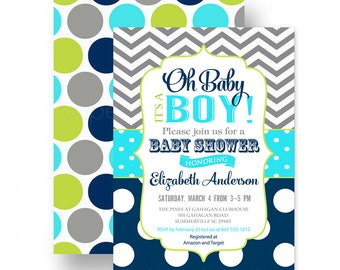 Oh Baby! Boys Baby Shower Invitation Navy and Grey Chevron Stripe - Personalize - Party Printable or Printing with Envelopes