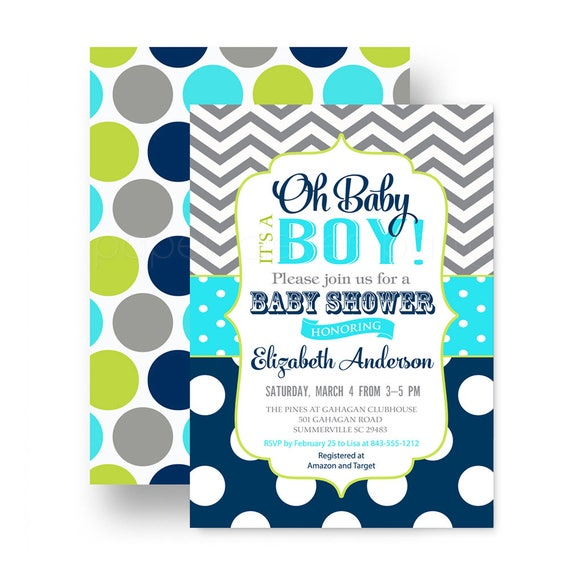 Oh boy baby shower invitations for boys navy blue aqua and lime il570xn filmwisefo