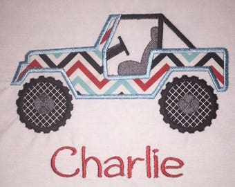 Children's Toddler Jeep with Personalized Name on a Short or Long Sleeve T-Shirt