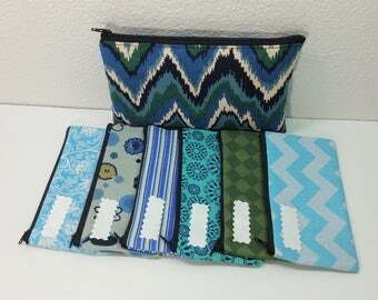 Cash Budget System, Cash Envelope Wallet -Fun Chevron Blue Green (It can be used with the Dave Ramsey system)