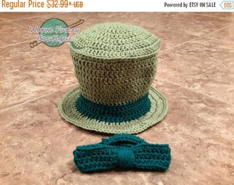 SUMMER SALE Baby Mad Hatter Top Hat & Bow Tie Bowtie - Crochet Newborn Beanie Boy Girl Costume Winter  Photo Prop Cap Christmas Outfit
