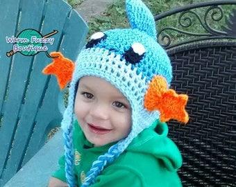 SUMMER SALE Pokemon Mudkip Earflaps Hat - Crochet Newborn Beanie Boy Girl Costume Preemie Halloween  Photo Prop Christmas Gift Winter Outfit