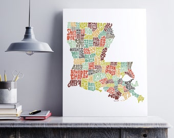Louisiana Canvas Art, Typography Map Art Formed from Louisiana City Names, Louisiana Wall Decor, Stretched Gallery Wrap Canvas Print