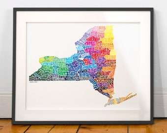 New York City Typography Map Print, New York wall decor, New York typography map art