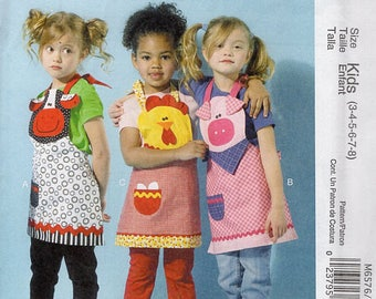 McCall's 6576 Girls Whimsical Full Apron Pig Chicken Cow Farm Animals Uncut Sewing Handmade Craft Pattern