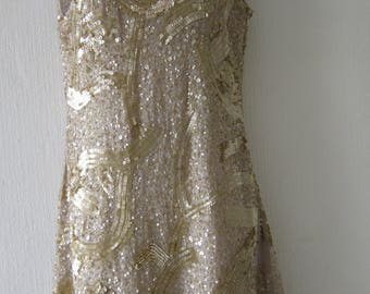 80's Gold Sequin Short Dress