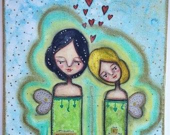A Sweet Pair of Aura Angels Art Work. Mixed media artwork. Original Art for Sale, Original Art Work, Fine Art, Original Painting, Gift Women