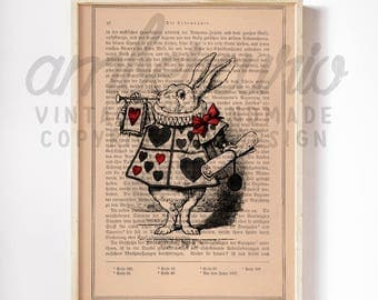 White Rabbit of Hearts Alice in Wonderland Inspired Classic Literature Print on a Unique Unframed Upcycled Bookpage