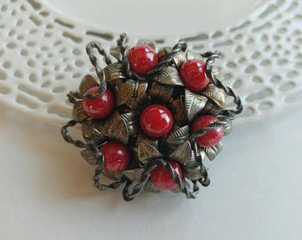 Unusual Ornate Bouquet Brooch w/ Leaf Design & Red Glass Accents- Floral Silver Tone Antique Look Victorian Elegant Retro
