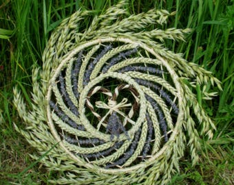 OOAK Handmade Positively Pagan Lammas wheat, Oat & Lavender Wreath. Harvest Sun Wheel. Handfasting gift