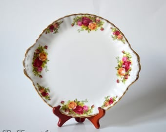 Royal Albert Old Country Roses Cookie Plate, English Bone China Cake Plate, Replacement China, ca. 1962
