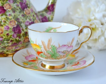 Royal Stafford Teacup and Saucer Set With Poppy Flowers, English Bone China, Pattern 7493, Wedding Gift, ca. 1950