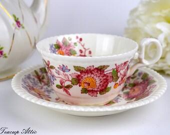 Spode Aster Teacup and Saucer Set, Tea Cup And Saucer, Replacement China, ca. 1950